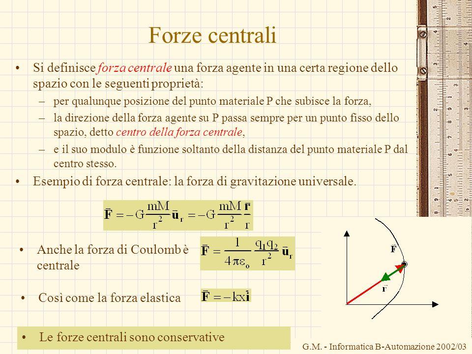 G.M. - Informatica B-Automazione 2002/03 Forze centrali Si definisce forza centrale una forza agente in una certa regione dello spazio con le seguenti
