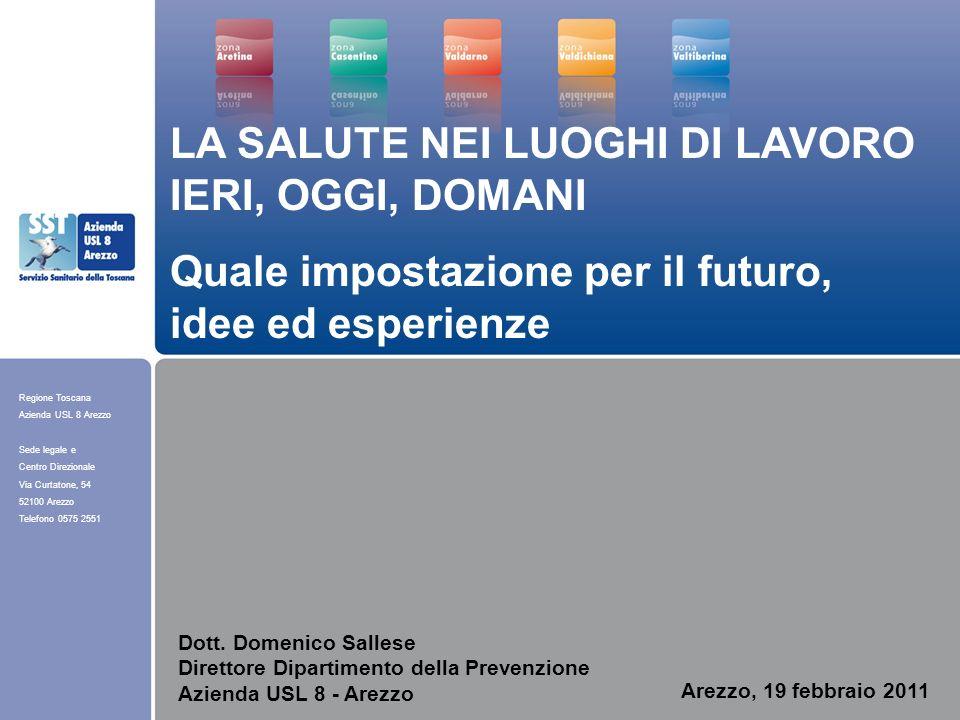 Regione Toscana Azienda USL 8 Arezzo Sede legale e Centro Direzionale Via Curtatone, 54 52100 Arezzo Telefono 0575 2551 Arezzo, 19 febbraio 2011 LA SA