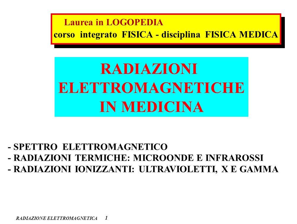 RADIAZIONE ELETTROMAGNETICA 2 ONDE RADIO MICRO ONDE INFRA- -ROSSO VISIBILE ULTRA- -VIOLETTO RAGGI X GAMMA 10 2 1 10 –2 10 –4 10 –6 10 –8 10 –10 10 –12 10 –14 (m) (m) (Hz) (Hz) 10 6 10 8 10 10 12 10 14 10 16 10 18 10 20 10 22 SPETTRO ELETTROMAGNETICO : impiego diagnostica (RM) diagnostica (RX, CT) diagnostica (PET, SPET) diagnostica (IR e visibile) terapia