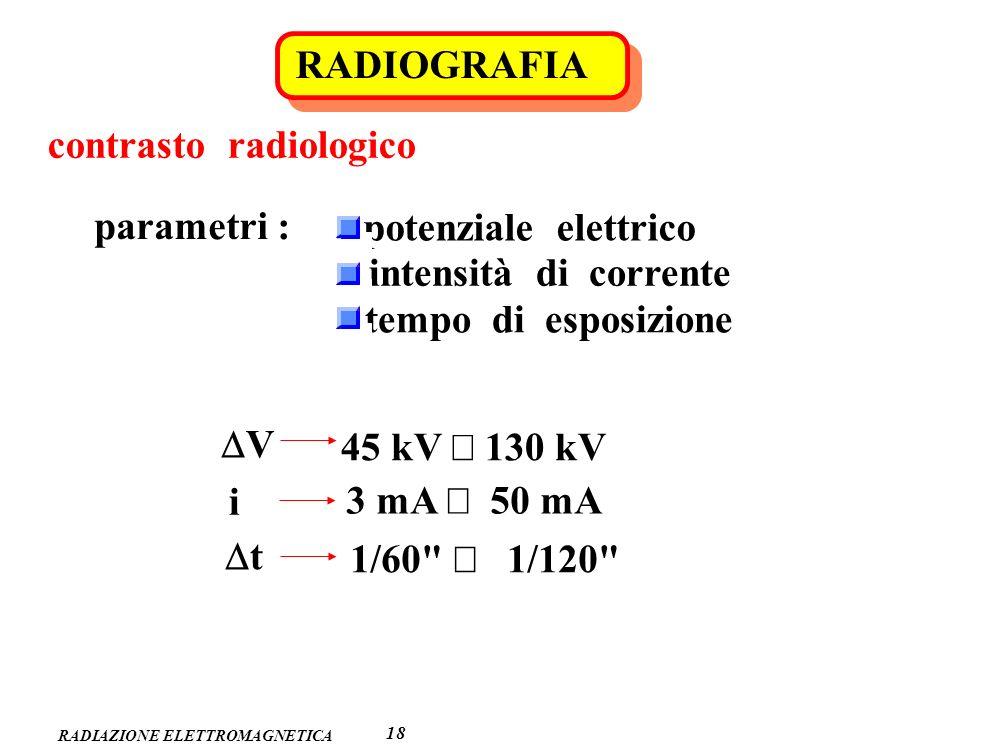 RADIAZIONE ELETTROMAGNETICA RADIOGRAFIA 1818 contrasto radiologico parametri : potenziale elettrico intensità di corrente tempo di esposizione V 45 kV