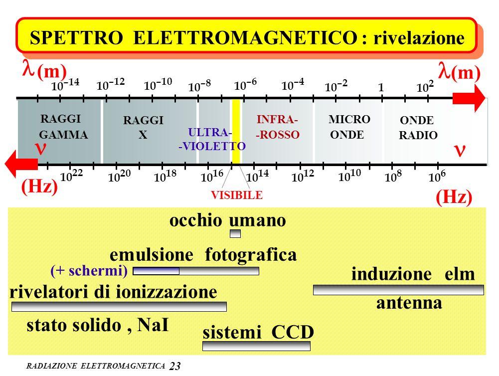 RADIAZIONE ELETTROMAGNETICA 2323 ONDE RADIO MICRO ONDE INFRA- -ROSSO VISIBILE ULTRA- -VIOLETTO RAGGI X GAMMA 10 2 1 10 –2 10 –4 10 –6 10 –8 10 –10 10
