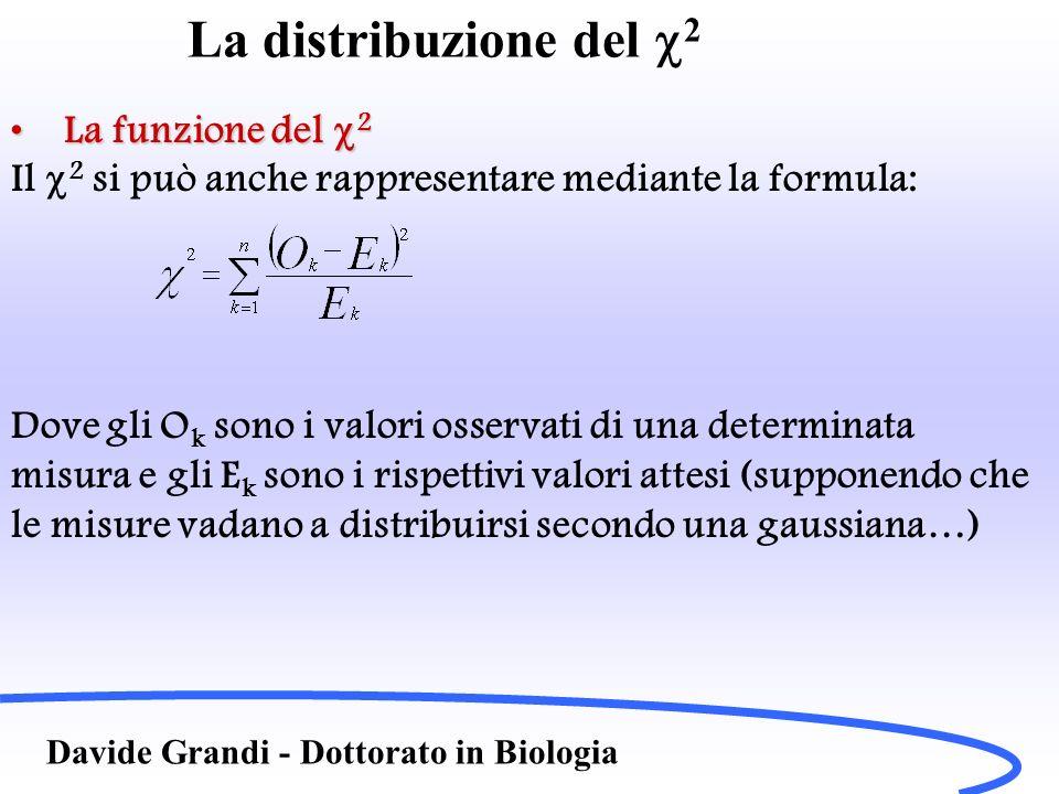 La distribuzione del 2 Davide Grandi - Dottorato in Biologia La funzione del 2La funzione del 2 Il 2 si può anche rappresentare mediante la formula: D
