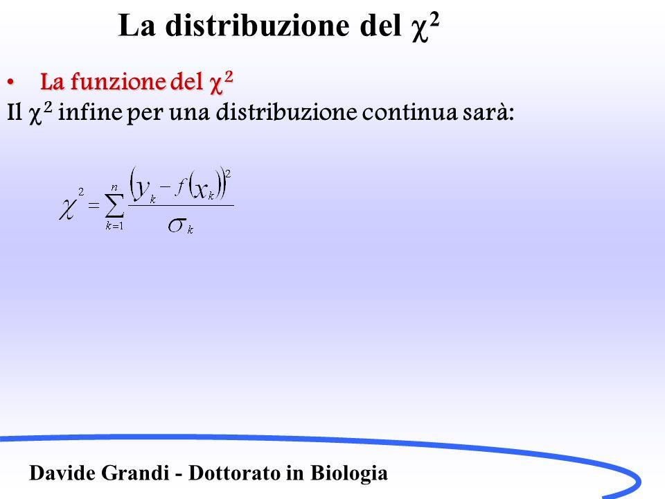 La distribuzione del 2 Davide Grandi - Dottorato in Biologia La funzione del 2La funzione del 2 Il 2 infine per una distribuzione continua sarà: