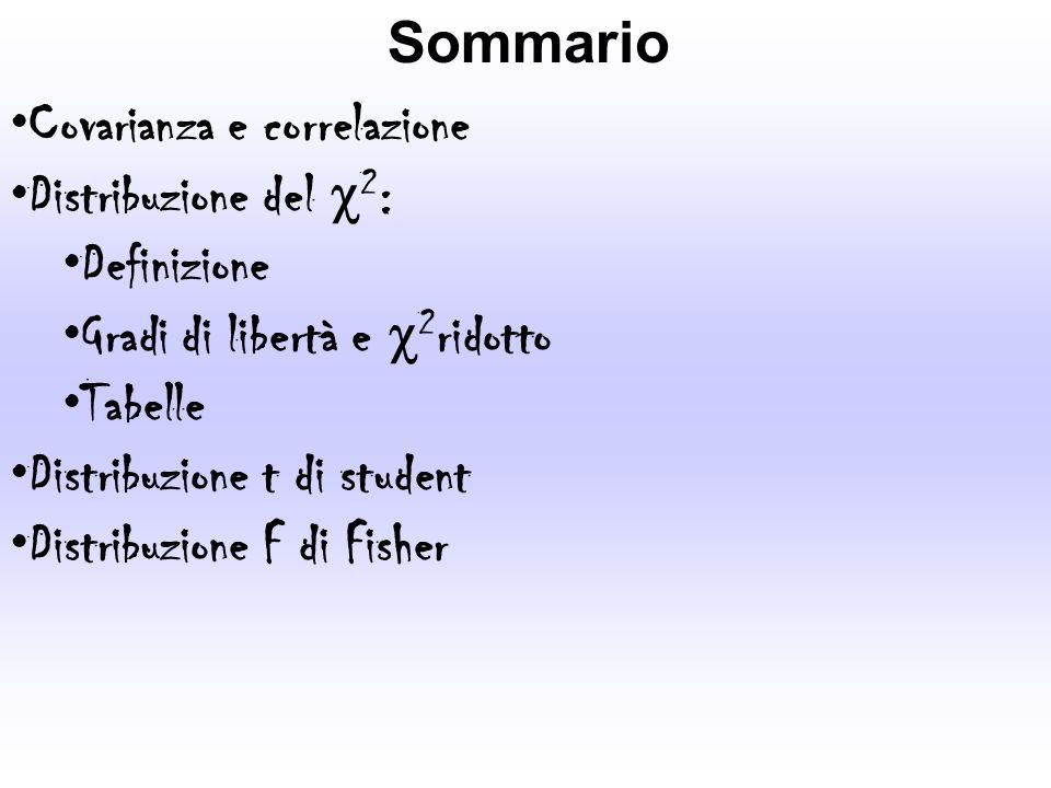 Sommario Covarianza e correlazione Distribuzione del 2 : Definizione Gradi di libertà e 2 ridotto Tabelle Distribuzione t di student Distribuzione F d
