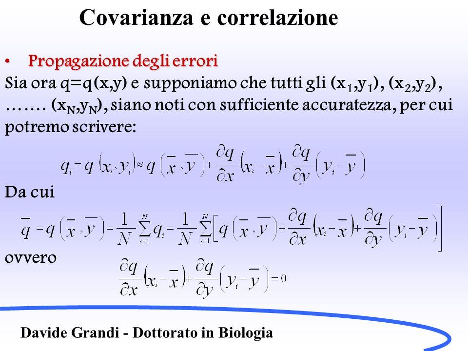 Covarianza e correlazione Davide Grandi - Dottorato in Biologia Propagazione degli erroriPropagazione degli errori Sia ora q=q(x,y) e supponiamo che t