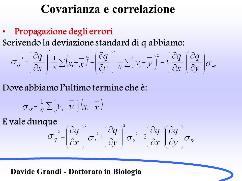 Covarianza e correlazione Davide Grandi - Dottorato in Biologia Propagazione degli erroriPropagazione degli errori Scrivendo la deviazione standard di
