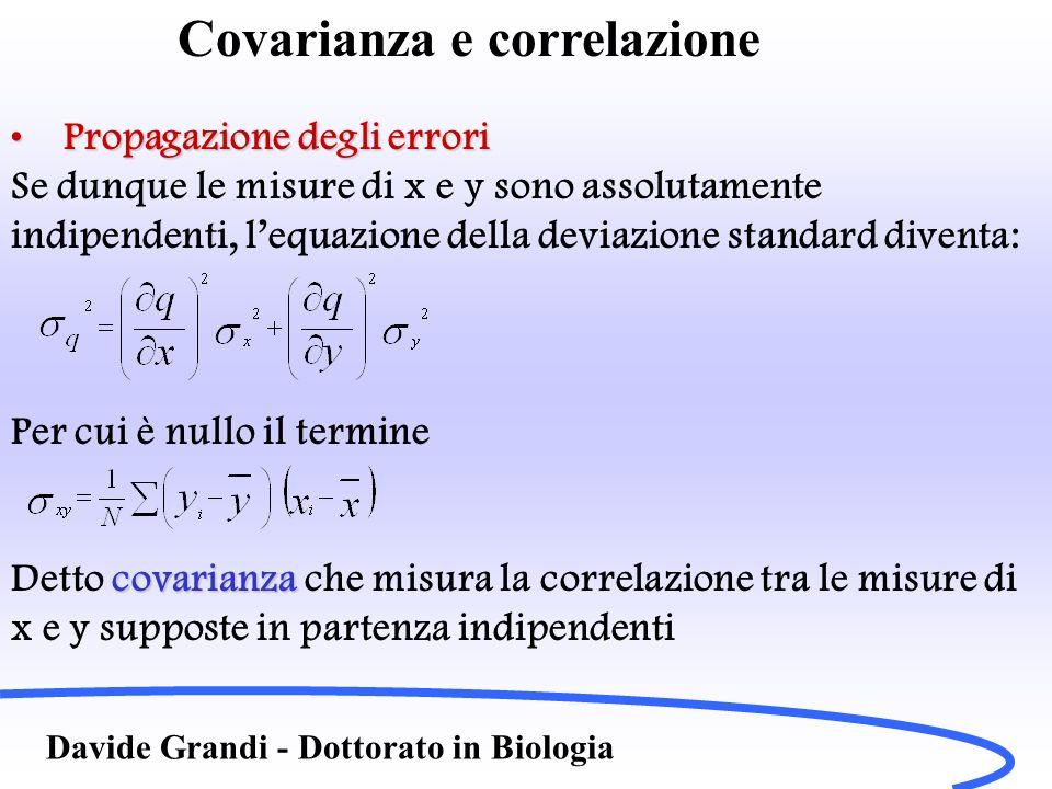 Covarianza e correlazione Davide Grandi - Dottorato in Biologia Propagazione degli erroriPropagazione degli errori Se dunque le misure di x e y sono a