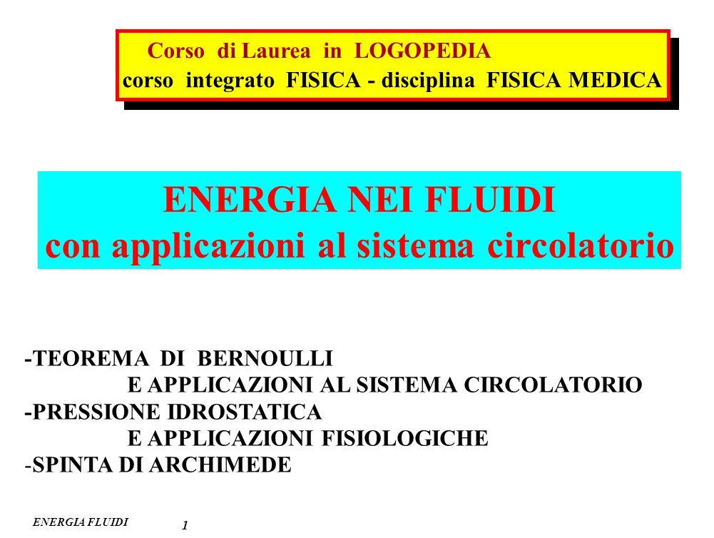 ENERGIA FLUIDI TEOREMA di BERNOULLI 2 h1h1 h h2h2 v1v1 v2v2 S2S2 S1S1 V 1 V 2 suolo p1p1 p2p2 1 2 t determinato fluido perfetto (forze di attrito nulle) (liquido non viscoso : = 0) condotto rigido moto stazionario (Q = costante S 1 v 1 = S 2 v 2 ) l2l2 l1l1