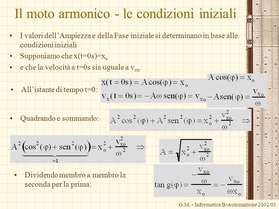 G.M. - Informatica B-Automazione 2002/03 Il moto armonico - le condizioni iniziali I valori dellAmpiezza e della Fase iniziale si determinano in base