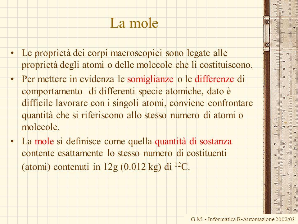 G.M. - Informatica B-Automazione 2002/03 La mole Le proprietà dei corpi macroscopici sono legate alle proprietà degli atomi o delle molecole che li co