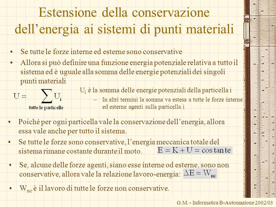 G.M. - Informatica B-Automazione 2002/03 Estensione della conservazione dellenergia ai sistemi di punti materiali Se tutte le forze interne ed esterne
