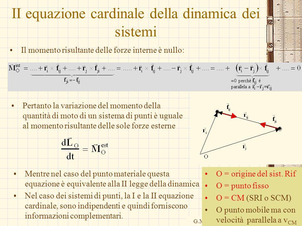 G.M. - Informatica B-Automazione 2002/03 II equazione cardinale della dinamica dei sistemi Il momento risultante delle forze interne è nullo: Pertanto