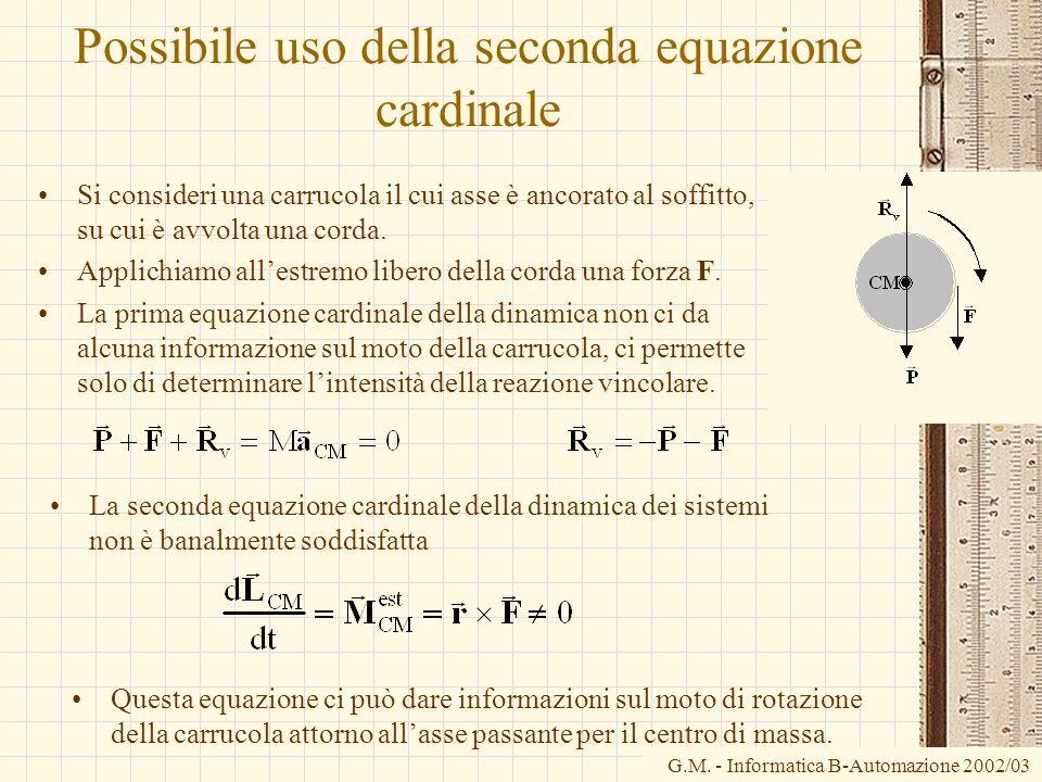 G.M. - Informatica B-Automazione 2002/03 Possibile uso della seconda equazione cardinale Si consideri una carrucola il cui asse è ancorato al soffitto