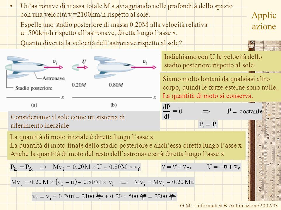 G.M. - Informatica B-Automazione 2002/03 Applic azione Unastronave di massa totale M staviaggiando nelle profondità dello spazio con una velocità v i