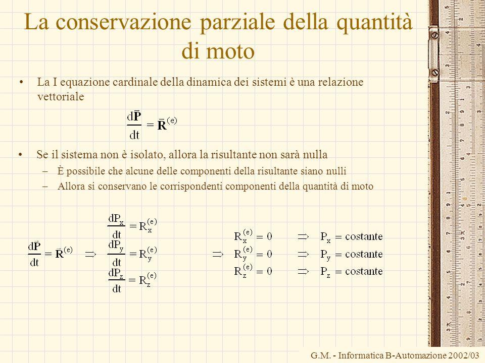 G.M. - Informatica B-Automazione 2002/03 La conservazione parziale della quantità di moto La I equazione cardinale della dinamica dei sistemi è una re