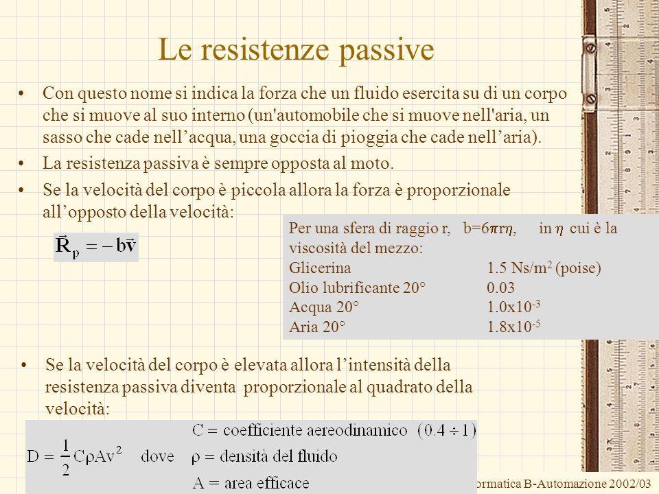 G.M. - Informatica B-Automazione 2002/03 Le resistenze passive Con questo nome si indica la forza che un fluido esercita su di un corpo che si muove a