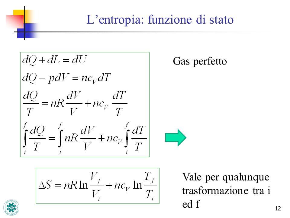 Lentropia: funzione di stato 12 Gas perfetto Vale per qualunque trasformazione tra i ed f