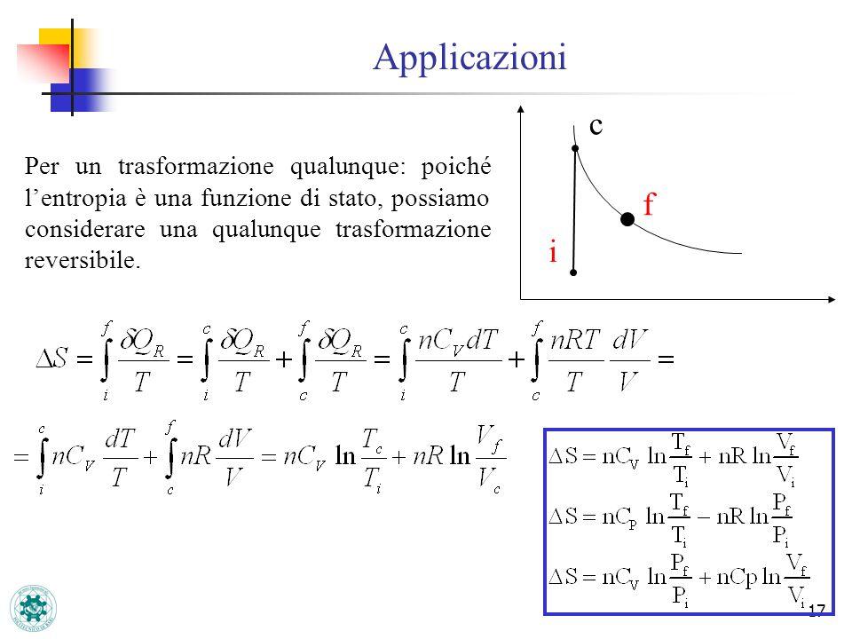 17 Applicazioni i f Per un trasformazione qualunque: poiché lentropia è una funzione di stato, possiamo considerare una qualunque trasformazione rever