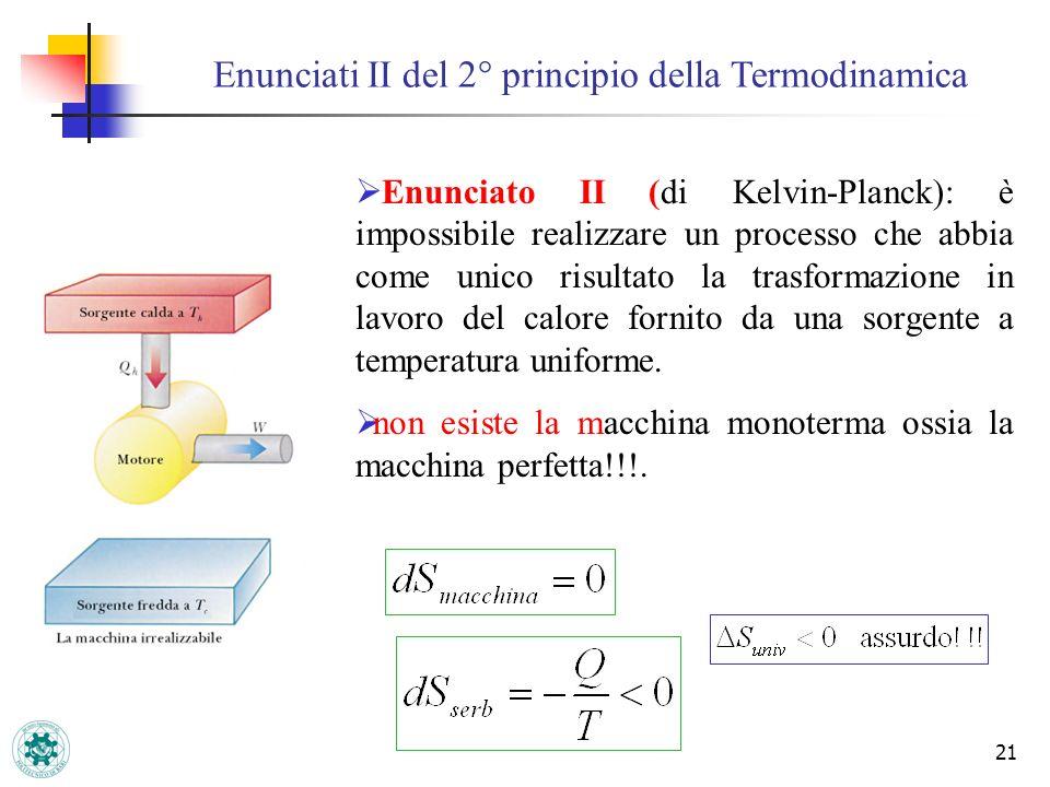 21 Enunciati II del 2° principio della Termodinamica Enunciato II (di Kelvin-Planck): è impossibile realizzare un processo che abbia come unico risult