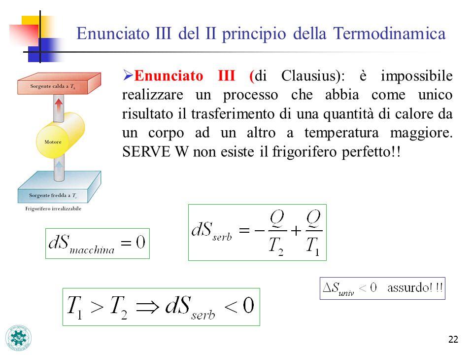 22 Enunciato III (di Clausius): è impossibile realizzare un processo che abbia come unico risultato il trasferimento di una quantità di calore da un c
