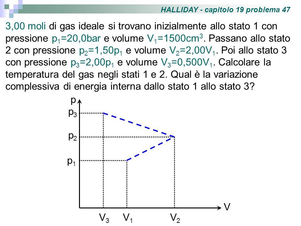 HALLIDAY - capitolo 19 problema 47 3,00 moli di gas ideale si trovano inizialmente allo stato 1 con pressione p 1 =20,0bar e volume V 1 =1500cm 3. Pas