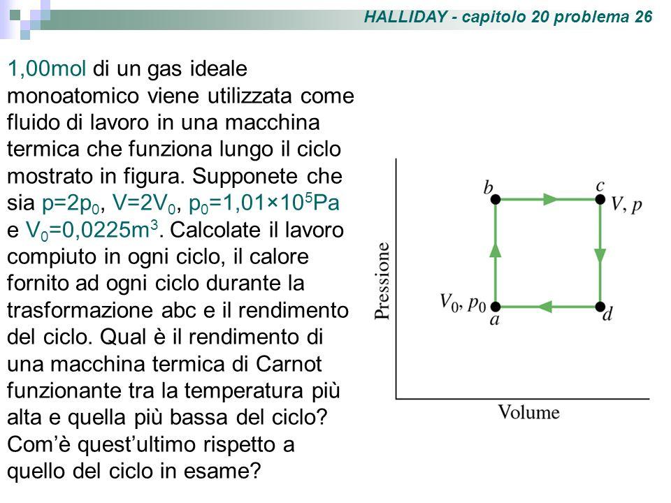 HALLIDAY - capitolo 20 problema 26 1,00mol di un gas ideale monoatomico viene utilizzata come fluido di lavoro in una macchina termica che funziona lu