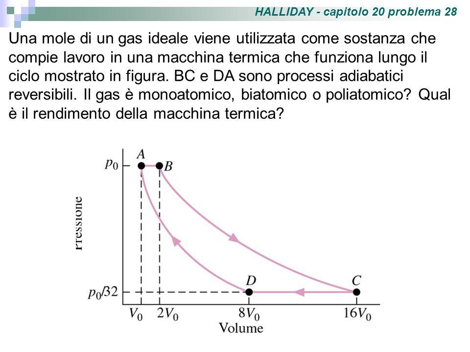 HALLIDAY - capitolo 20 problema 28 Una mole di un gas ideale viene utilizzata come sostanza che compie lavoro in una macchina termica che funziona lun