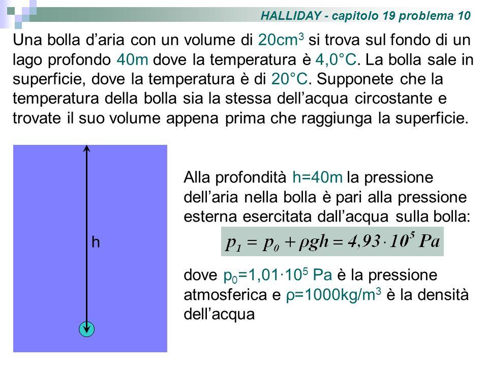 Applicando lequazione di stato dei gas perfetti quando la bolla è a profondità h, dove p=p 1, V=V 1 =20·10 -6 m 3 e T=T 1 =277K, possiamo calcolare il numero di moli di aria: Sulla superficie del lago la pressione dellaria sarà p 2 =p 0 (pressione atmosferica).