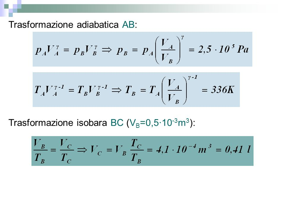Nel punto a: p a =p 0 =1,01×10 5 Pa e V a =V 0 =0,0225m 3 Nel punto b: p b =p=2p 0 =2,02×10 5 Pa e V b =V a =0,0225m 3 Nel punto c: p c =p b =2,02×10 5 Pa e V c =2V 0 =0,0450m 3 Nel punto d: p d =p a =1,01×10 5 Pa e V d =V c =0,0450m 3