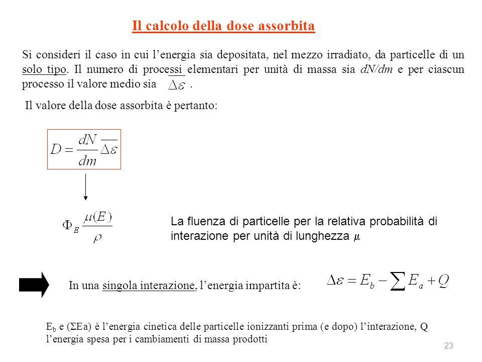 23 Il calcolo della dose assorbita Si consideri il caso in cui lenergia sia depositata, nel mezzo irradiato, da particelle di un solo tipo. Il numero