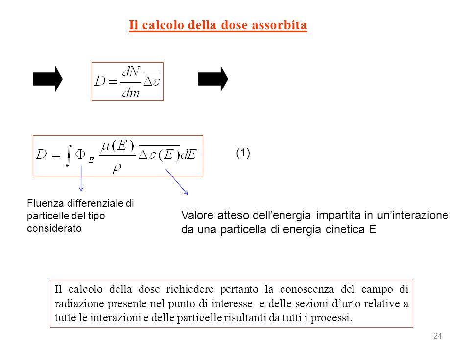24 Il calcolo della dose richiedere pertanto la conoscenza del campo di radiazione presente nel punto di interesse e delle sezioni durto relative a tu