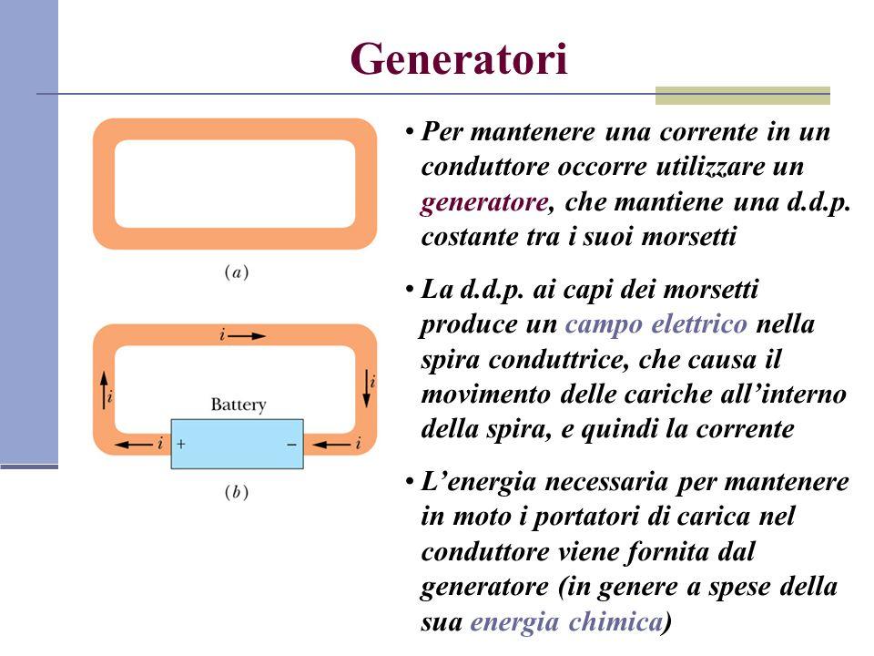 Generatori Per mantenere una corrente in un conduttore occorre utilizzare un generatore, che mantiene una d.d.p. costante tra i suoi morsetti La d.d.p
