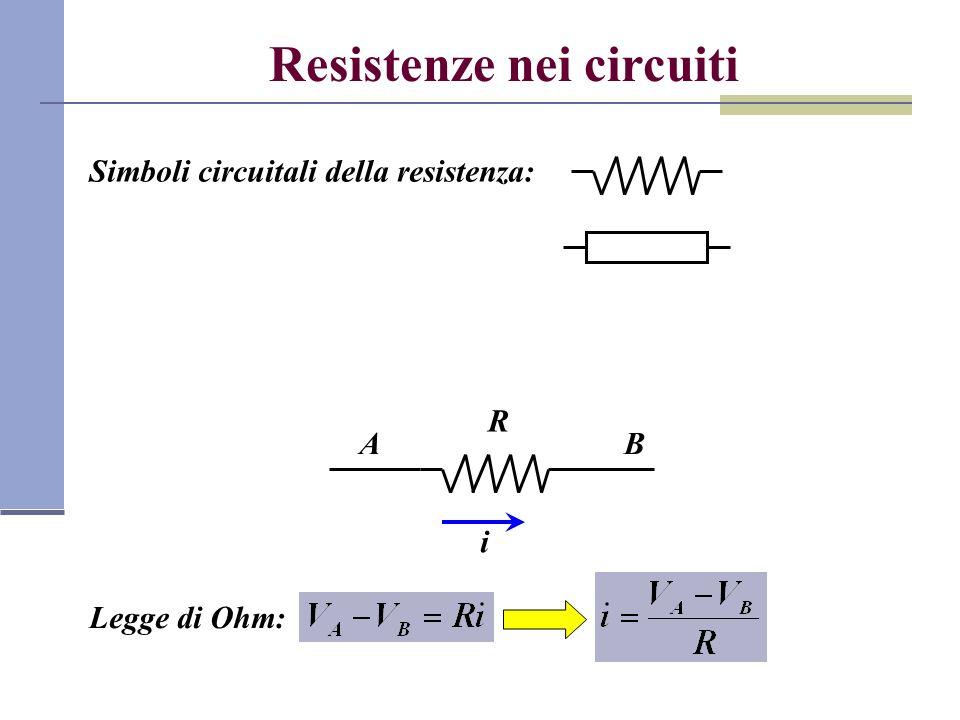 Potenza nei circuiti elettrici Nel tempo dt una carica dq = i dt si sposta dal polo positivo a quello negativo del generatore Lavoro compiuto dal generatore sulla carica dq: Potenza dissipata: La potenza è dissipata per effetto del passaggio delle cariche attraverso la resistenza sotto forma di calore (effetto Joule) R + - i V