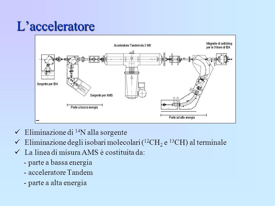 Lacceleratore Eliminazione di 14 N alla sorgente Eliminazione degli isobari molecolari ( 12 CH 2 e 13 CH) al terminale La linea di misura AMS è costit