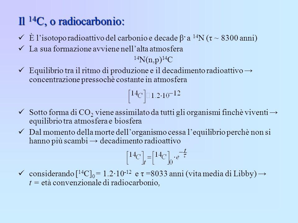 Il 14 C, o radiocarbonio: È lisotopo radioattivo del carbonio e decade β - a 14 N (τ ~ 8300 anni) La sua formazione avviene nellalta atmosfera 14 N(n,