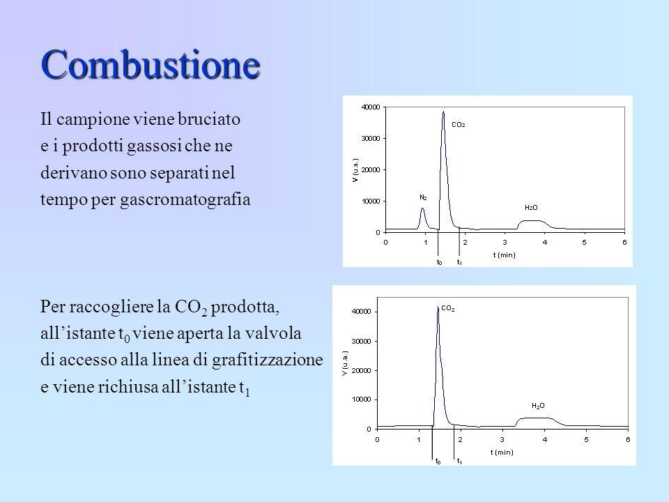 Combustione Il campione viene bruciato e i prodotti gassosi che ne derivano sono separati nel tempo per gascromatografia Per raccogliere la CO 2 prodo