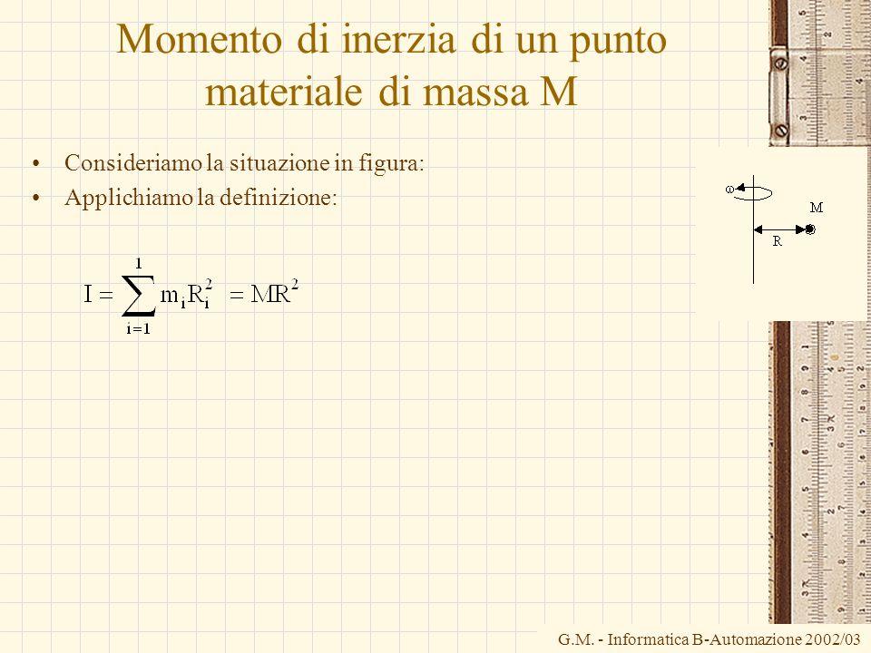 G.M. - Informatica B-Automazione 2002/03 Momento di inerzia di un punto materiale di massa M Consideriamo la situazione in figura: Applichiamo la defi
