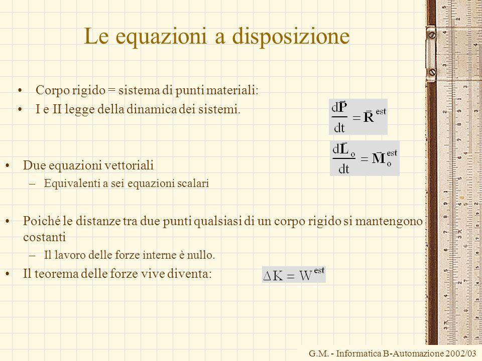 G.M. - Informatica B-Automazione 2002/03 Le equazioni a disposizione Corpo rigido = sistema di punti materiali: I e II legge della dinamica dei sistem