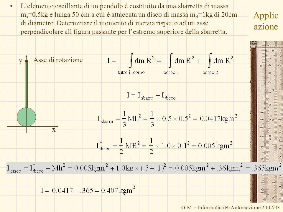 G.M. - Informatica B-Automazione 2002/03 Applic azione Lelemento oscillante di un pendolo è costituito da una sbarretta di massa m s =0.5kg e lunga 50
