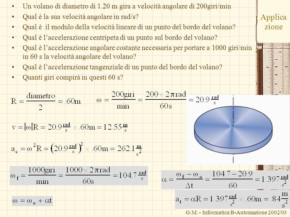 G.M. - Informatica B-Automazione 2002/03 Applica zione Un volano di diametro di 1.20 m gira a velocità angolare di 200giri/min Qual è la sua velocità
