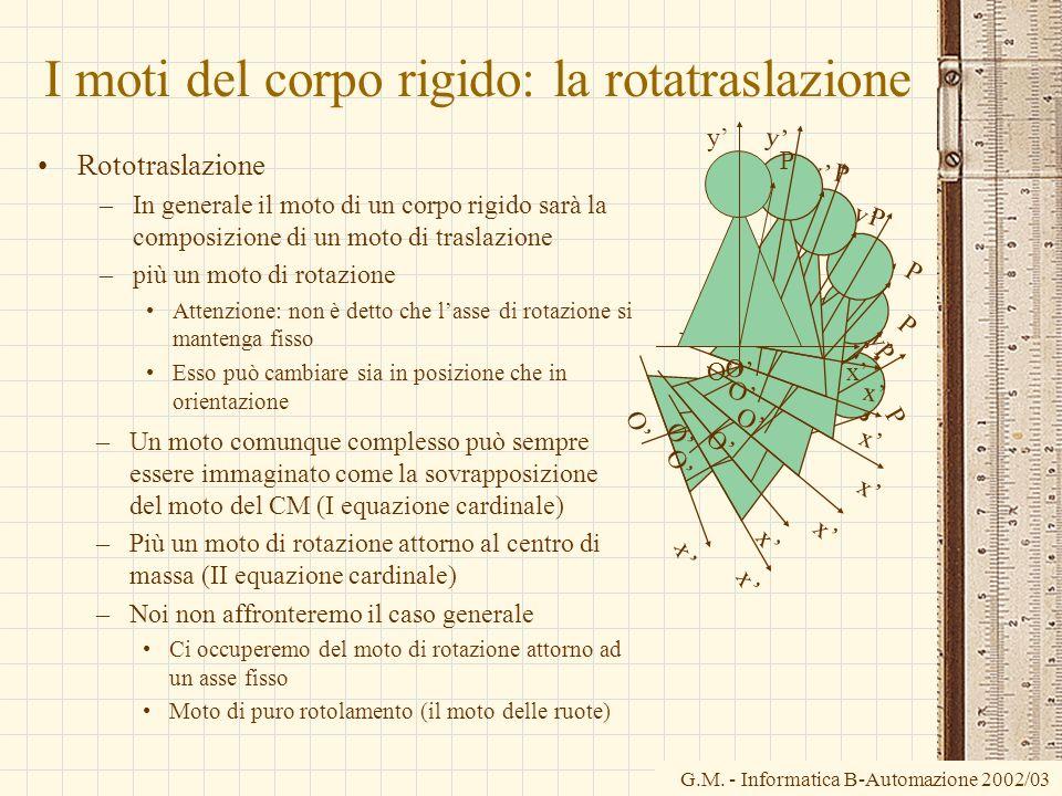 G.M. - Informatica B-Automazione 2002/03 I moti del corpo rigido: la rotatraslazione Rototraslazione –In generale il moto di un corpo rigido sarà la c