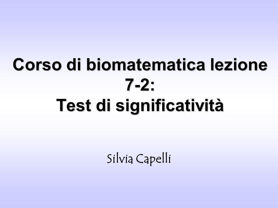 Corso di biomatematica lezione 7-2: Test di significatività Silvia Capelli