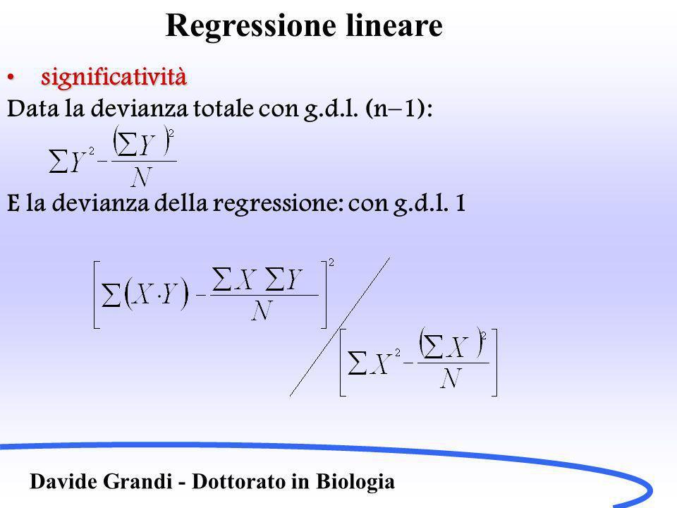 Davide Grandi - Dottorato in Biologia Regressione lineare significativitàsignificatività Data la devianza totale con g.d.l.