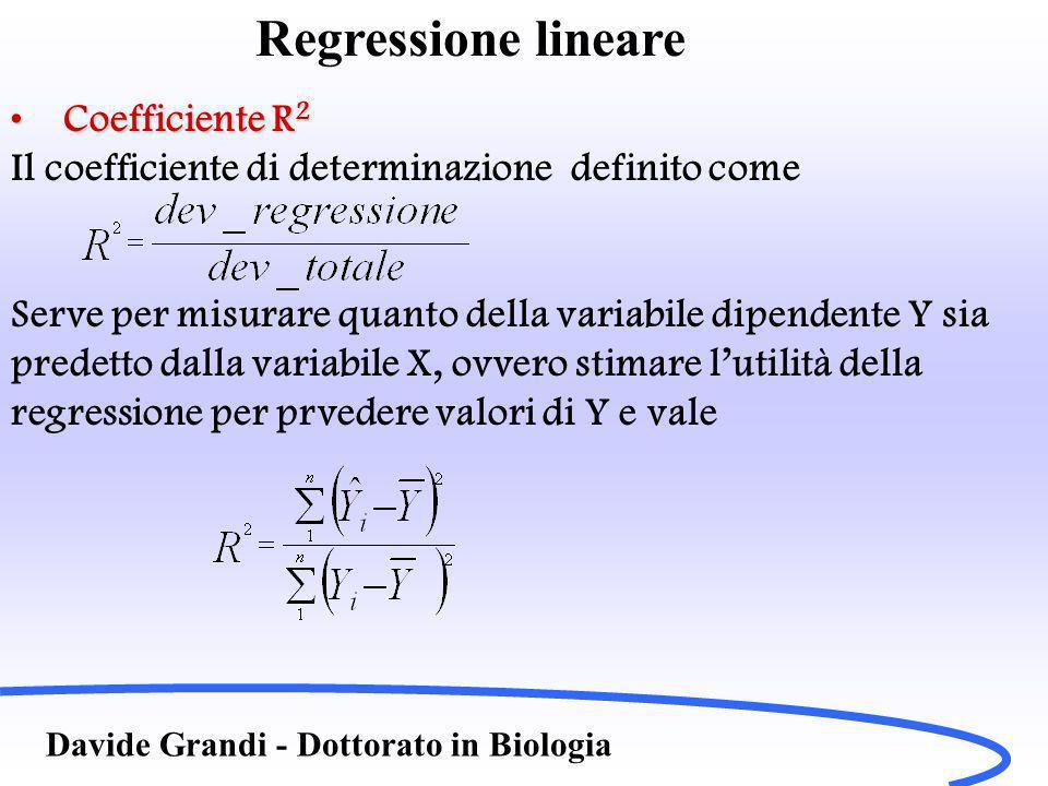Davide Grandi - Dottorato in Biologia Regressione lineare Coefficiente R 2Coefficiente R 2 Il coefficiente di determinazione definito come Serve per misurare quanto della variabile dipendente Y sia predetto dalla variabile X, ovvero stimare lutilità della regressione per prvedere valori di Y e vale