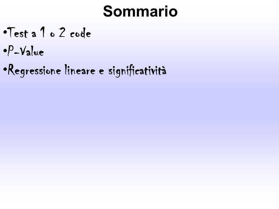 Sommario Test a 1 o 2 code P-Value Regressione lineare e significatività