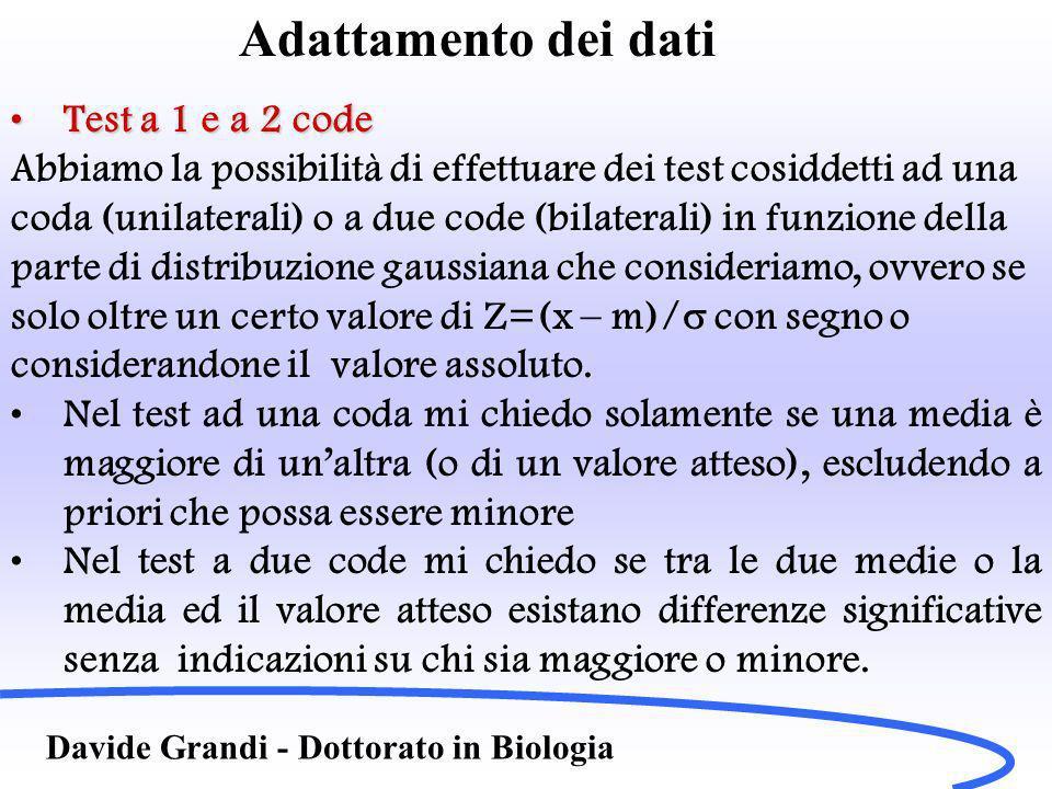 Adattamento dei dati Davide Grandi - Dottorato in Biologia Test a 1 e a 2 codeTest a 1 e a 2 code Abbiamo la possibilità di effettuare dei test cosiddetti ad una coda (unilaterali) o a due code (bilaterali) in funzione della parte di distribuzione gaussiana che consideriamo, ovvero se solo oltre un certo valore di Z=(x – m)/ con segno o considerandone il valore assoluto.