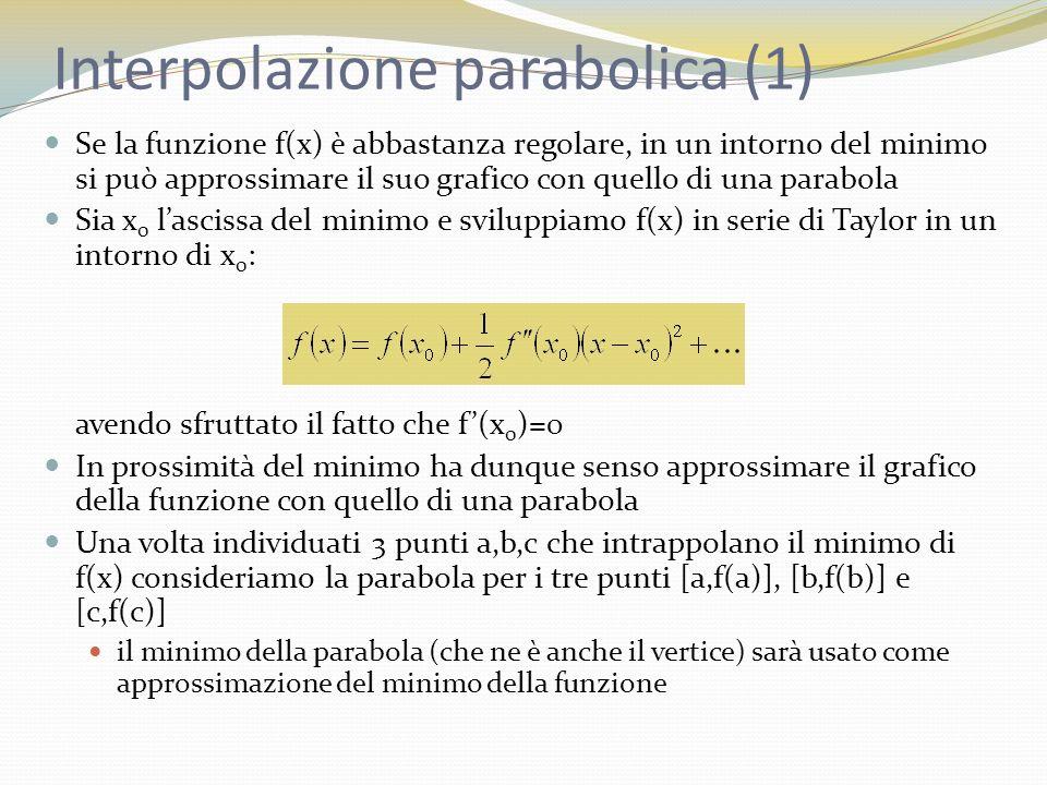 Interpolazione parabolica (1) Se la funzione f(x) è abbastanza regolare, in un intorno del minimo si può approssimare il suo grafico con quello di una parabola Sia x 0 lascissa del minimo e sviluppiamo f(x) in serie di Taylor in un intorno di x 0 : avendo sfruttato il fatto che f(x 0 )=0 In prossimità del minimo ha dunque senso approssimare il grafico della funzione con quello di una parabola Una volta individuati 3 punti a,b,c che intrappolano il minimo di f(x) consideriamo la parabola per i tre punti [a,f(a)], [b,f(b)] e [c,f(c)] il minimo della parabola (che ne è anche il vertice) sarà usato come approssimazione del minimo della funzione