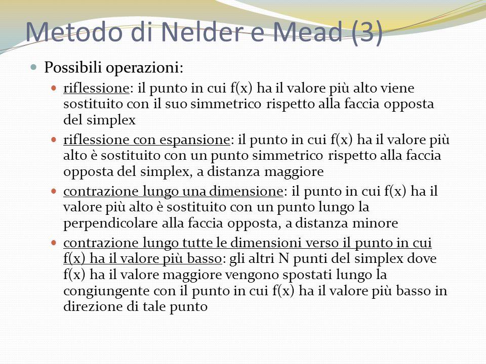 Metodo di Nelder e Mead (3) Possibili operazioni: riflessione: il punto in cui f(x) ha il valore più alto viene sostituito con il suo simmetrico rispetto alla faccia opposta del simplex riflessione con espansione: il punto in cui f(x) ha il valore più alto è sostituito con un punto simmetrico rispetto alla faccia opposta del simplex, a distanza maggiore contrazione lungo una dimensione: il punto in cui f(x) ha il valore più alto è sostituito con un punto lungo la perpendicolare alla faccia opposta, a distanza minore contrazione lungo tutte le dimensioni verso il punto in cui f(x) ha il valore più basso: gli altri N punti del simplex dove f(x) ha il valore maggiore vengono spostati lungo la congiungente con il punto in cui f(x) ha il valore più basso in direzione di tale punto