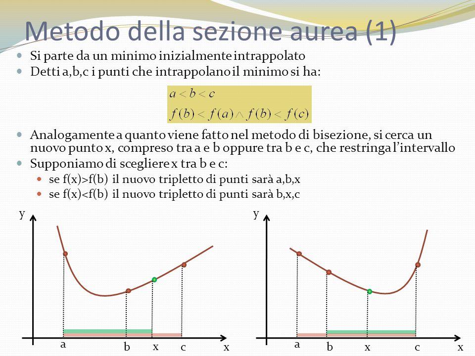 Metodo della sezione aurea (1) Si parte da un minimo inizialmente intrappolato Detti a,b,c i punti che intrappolano il minimo si ha: Analogamente a quanto viene fatto nel metodo di bisezione, si cerca un nuovo punto x, compreso tra a e b oppure tra b e c, che restringa lintervallo Supponiamo di scegliere x tra b e c: se f(x)>f(b) il nuovo tripletto di punti sarà a,b,x se f(x)<f(b) il nuovo tripletto di punti sarà b,x,c x y a bc x x y a bc x