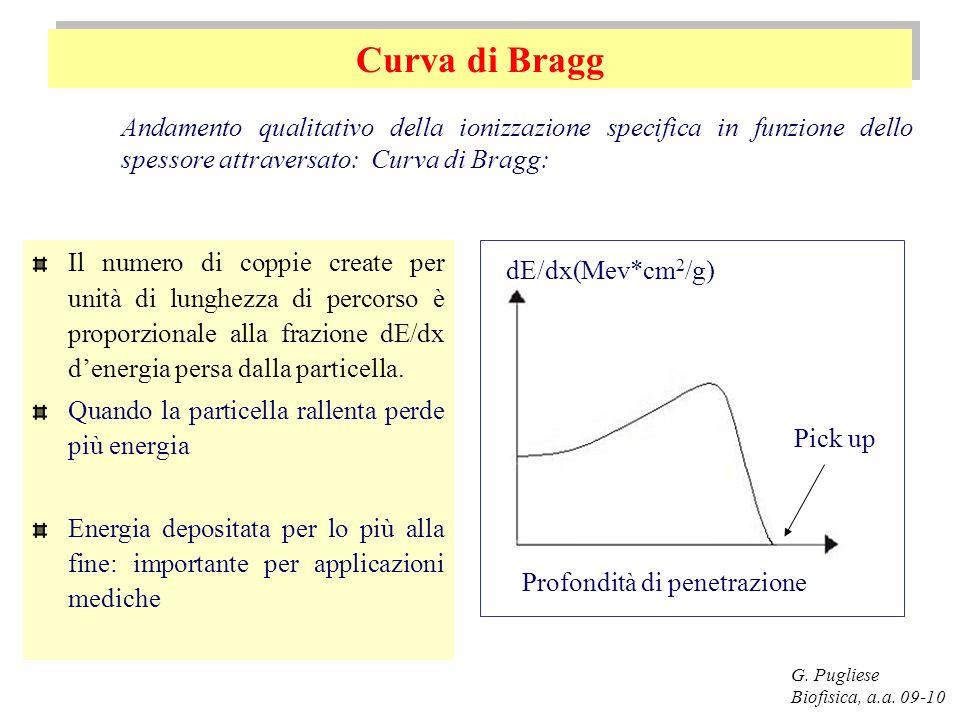 Curva di Bragg G. Pugliese Biofisica, a.a. 09-10 Il numero di coppie create per unità di lunghezza di percorso è proporzionale alla frazione dE/dx den